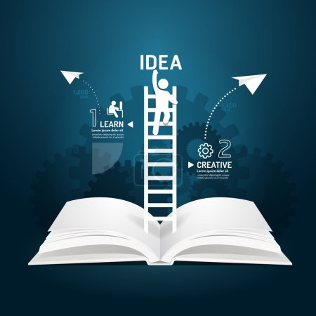 Infographic climbing ladder book diagram