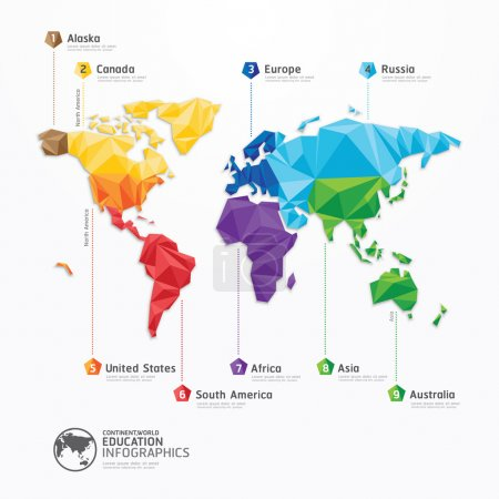 Illustration for World map illustration infographics geometric concept design vector template. - Royalty Free Image