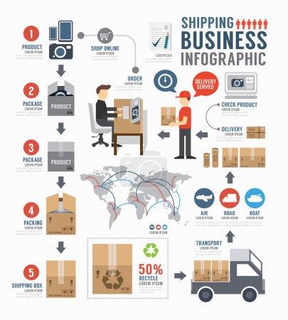 Ilustración de Infografía, diseño de plantillas de negocio mundial de envío. Ilustración de vector de concepto - Imagen libre de derechos