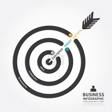 Illustration for Infographics vector business arrow design. customer target concept diagram line style template - Royalty Free Image