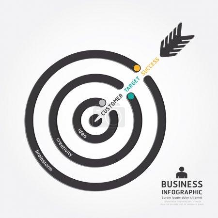 Illustration pour Infographies vectorielles conception de flèche d'affaires. modèle de style de ligne de diagramme de concept cible client - image libre de droit