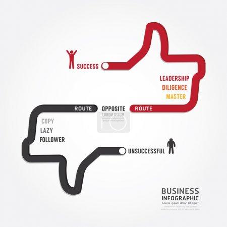 Illustration pour Infographie de la bagarre. route vers le succès conception de modèle de concept. illustration vectorielle de concept - image libre de droit