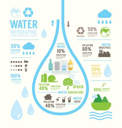 Illustration for Infographic water eco annual report template design . concept vector illustration - Royalty Free Image