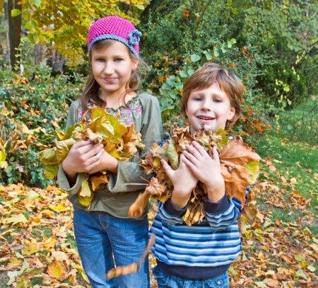 Children in autumn forest. Play with fallen down leaf