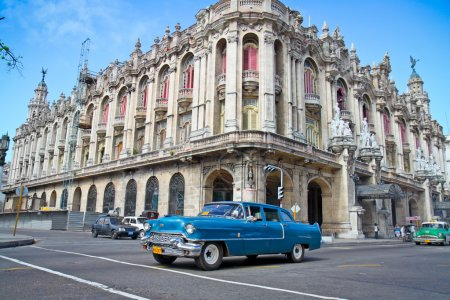 Classic Cadillac in front of the Great Theather in Havana, Cuba.