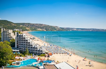 Panoramic view of Golden Sands beach , Bulgaria.