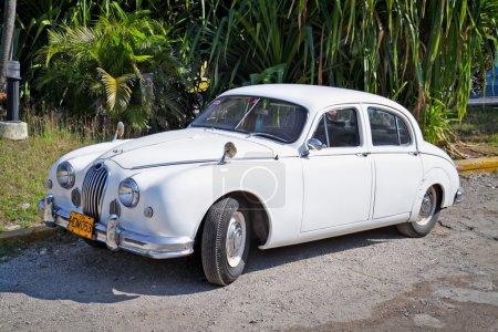Classic white Jaguar in Havana