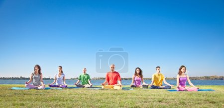 Group of young have meditation