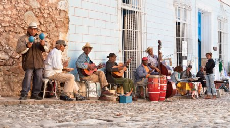 Traditional musicians playing in the streets in Trinidad, Cuba.