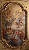 baroque ceiling fresco in Santa Cecilia church, Rome, Italy