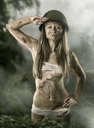 Army sexy girl saluting