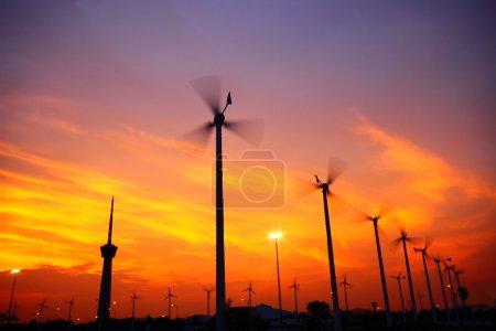 Clean energy wind turbine silhouettes