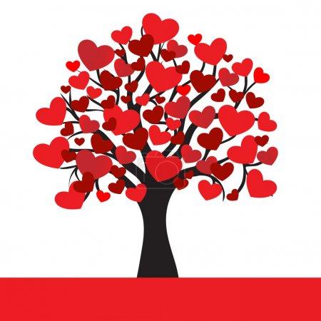 Illustration pour Cœurs abstraits arbre, illustration vectorielle pour la Saint-Valentin - image libre de droit