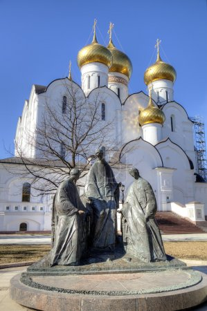 Trinity sculpture near Assumption Cathedral. Yaroslavl, Russia