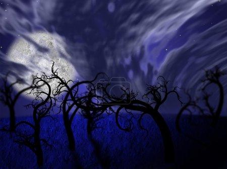 Photo pour Illustration de la forêt de nuit avec la pleine lune et feuilles d'arbres - image libre de droit
