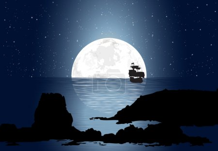 Illustration for Half big moon over the ocean along with a small sailboat. - Royalty Free Image
