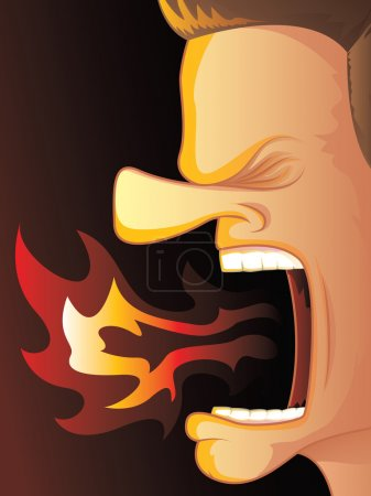 Illustration for Man Yelling with Hot Fire Burning His Mouth - Royalty Free Image