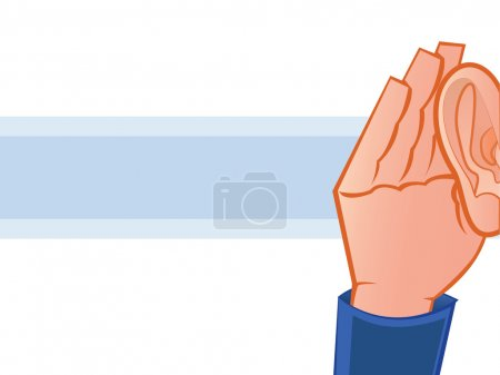 Illustration for Listening with Hand to Ear Illustration - Royalty Free Image