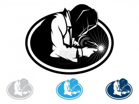 Illustration pour Silhouette d'une soudure de travail avec une torche - image libre de droit