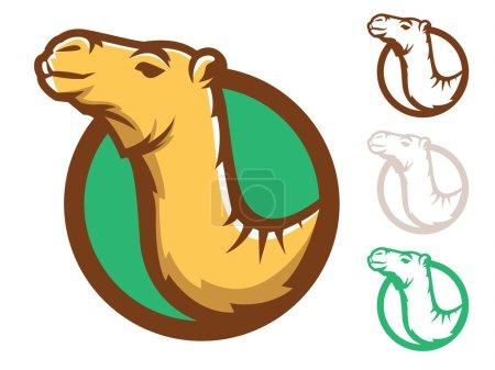 Illustration pour Illustration d'un visage de chameau en cercle - image libre de droit