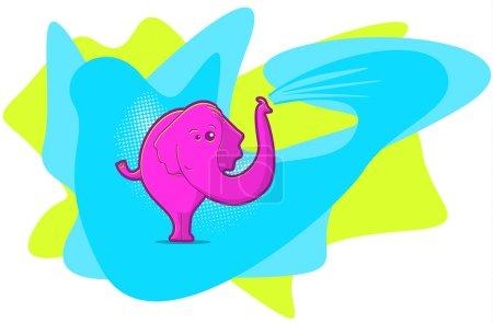 Illustration pour Illustration éléphant dans un style pop art aux couleurs vives - image libre de droit