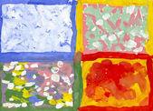 Handgemalte Darstellung der vier Jahreszeiten. Bild habe ich mit Wasserfarben erstellt