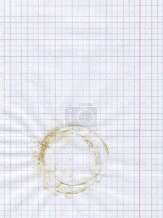 Photo pour Texture de feuille de papier carré blanc ou fond avec tache tasse - image libre de droit