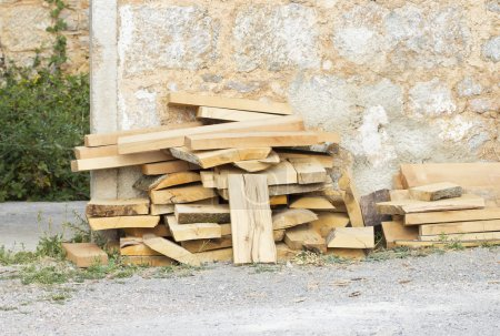 Photo for Stack of chopped firewood. - Royalty Free Image