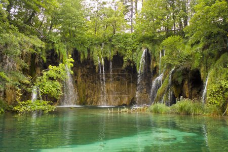 Photo for Summer view of beautiful small waterfalls in Plitvice Lakes National Park, Croatia - Royalty Free Image