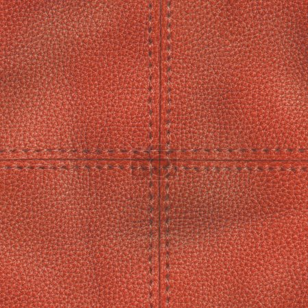 red leather textured background, stitches