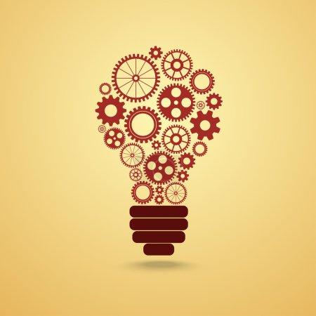 Illustration pour Ampoule avec engrenages et pignons travaillant ensemble - image libre de droit