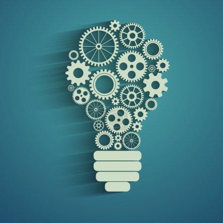 Illustration pour Ampoule avec engrenages et engrenages travaillant ensemble - image libre de droit