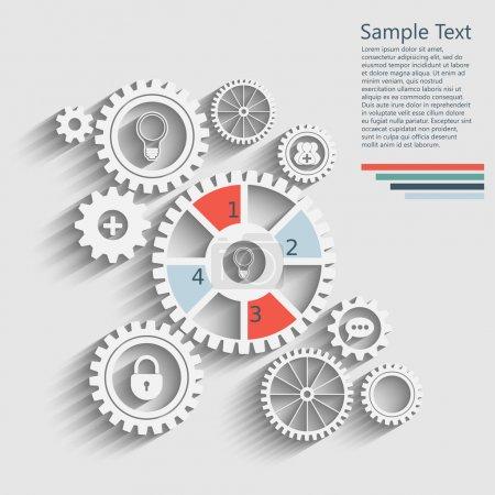 Illustration pour Engrenages avec des icônes à l'intérieur, ajouter un ami, bulle, serrure et autres. Conception infographique . - image libre de droit
