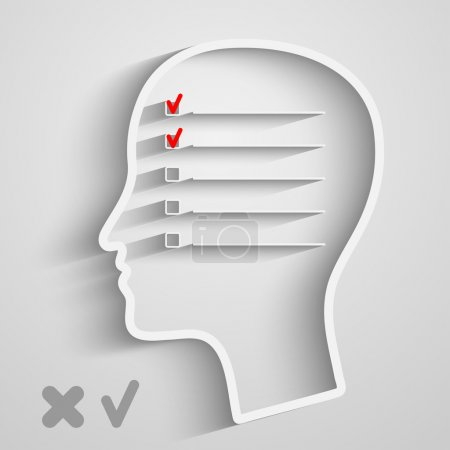 Illustration for A creative concept of human memory with head and checkbox - Royalty Free Image