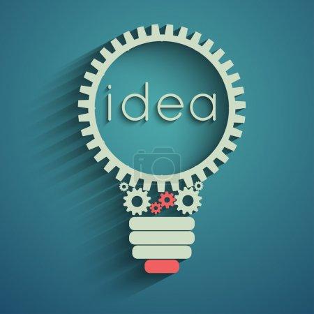 Illustration pour Ampoule avec engrenages et pignons travaillant ensemble, idée concept - image libre de droit