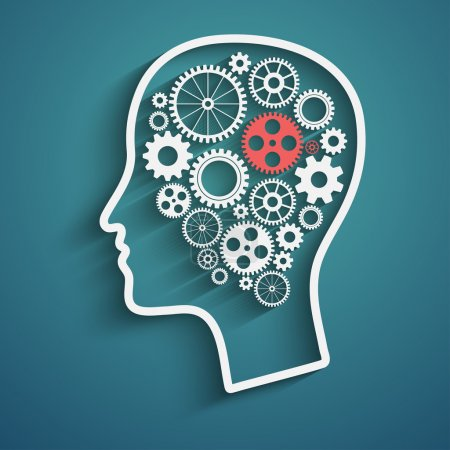 Illustration for Human head  with set of gears as a symbol work of brain - Royalty Free Image