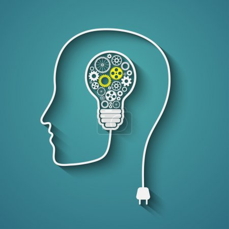 Illustration for Human head creating a new idea. Creative Idea. vector. - Royalty Free Image