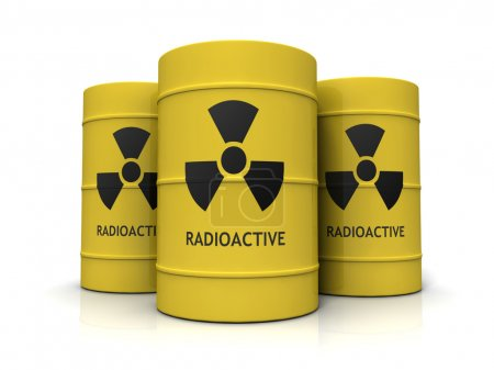 Yellow metal barrels with nuclear waste