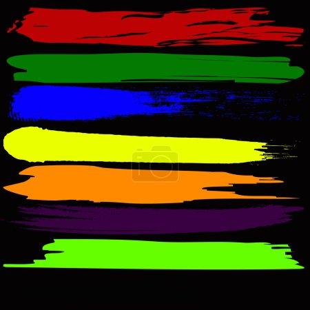 Colorful watercolor brush strokes, Vector illustration