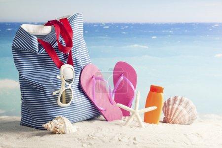 Beach bag with beach accessories