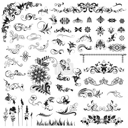 Illustration for Set of vector floral elements - Royalty Free Image