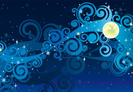 Illustration for Vector night blue sky with stars, yellow moon and milky way - Royalty Free Image