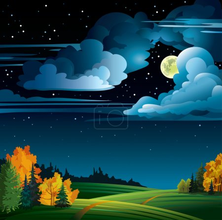 Illustration for Autumn night with yellow full moon and trees on a cloudy starry sky - Royalty Free Image