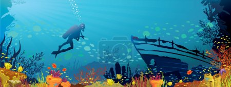 Illustration for Vector coral reef with fish and silhouette of diver on blue sea background - Royalty Free Image