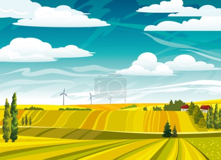 Illustration for Autumn landscape with yellow meadows and wind power on a cloudy sky - Royalty Free Image