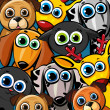 Group of colored, funny animals - cats, dogs and d...
