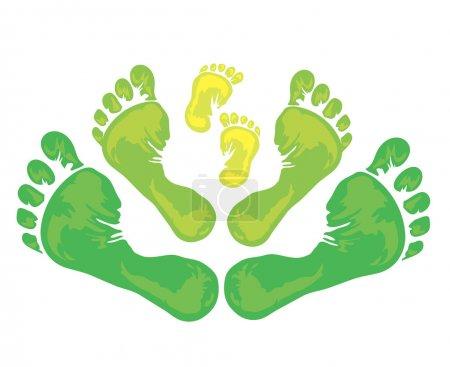 Illustration pour Symbole de la famille - trois empreintes vertes du père, de la mère et de l'enfant - image libre de droit