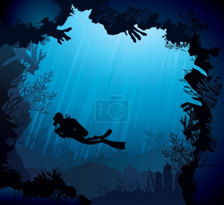 Illustration for Coral reef with silhouette of diver on blue sea background - Royalty Free Image