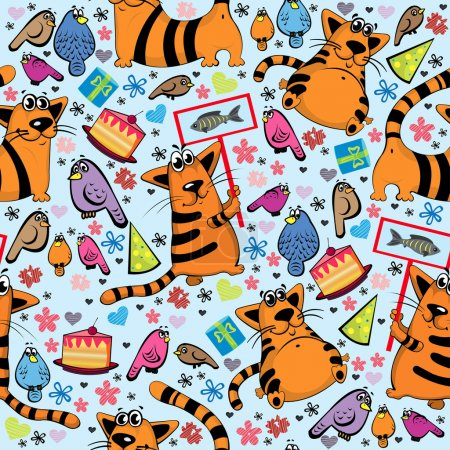 Cartoon pattern with cats and birds