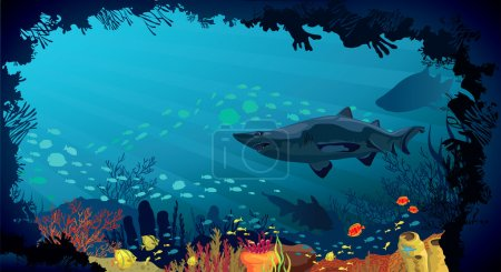 Underwater life - Coral reef with sharks and fish